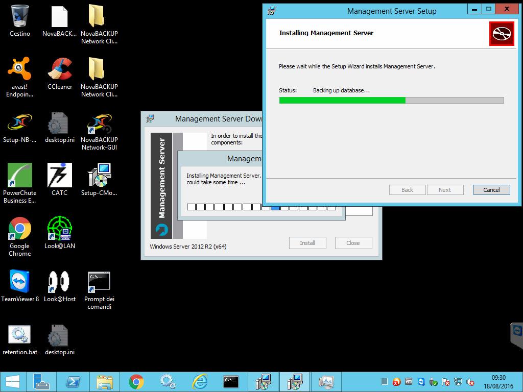 Computergenerierter Alternativtext: Cestino  avast!  Endpoin...  Setup-NB- ...  PowerChute  Business E..  Google  Chrome  TeamViewer 8  retention.bat  NovaBACK...  CCIeaner  desktop.ini  CATC  Look OLAN  Look@Host  desktop.ini  NovaBACKUP  Network Cli...  NovaBACKUP  Network Cli...  NovaBACKUP  Network-GUI  i:  Setup- CMo...  Prompt dei  comandi  Mana ement Server Setu  Installing Management Server  Please wait while the Setup Wizard installs Management Server.  Status:  Management Server Dow  In order to install thi  components:  Managem  Installing Management Server  could take some tme .  Windows Server 2012 Q  aackjng up da tabase  Close  Back  Next  Install  18/08/2016